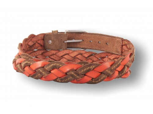 C092/35 Men's belt hand woven suede / leather, 6 colors
