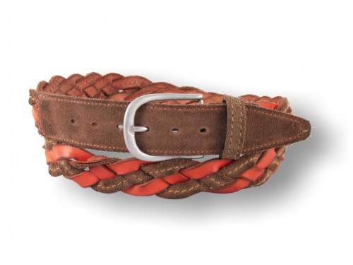 C092/35 Men's belt hand woven suede / leather, 6 colors