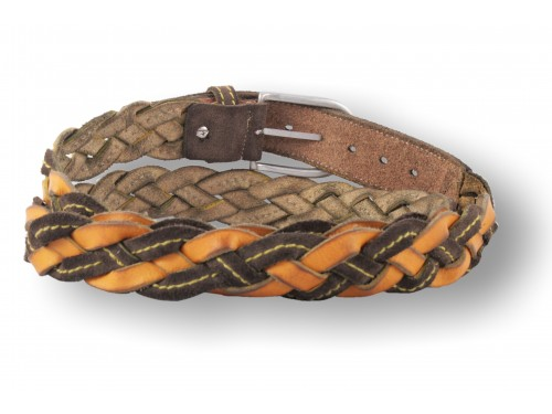 C092/35 Cintura intrecciata a mano Vera Pelle camoscio/cuoio diversi colori