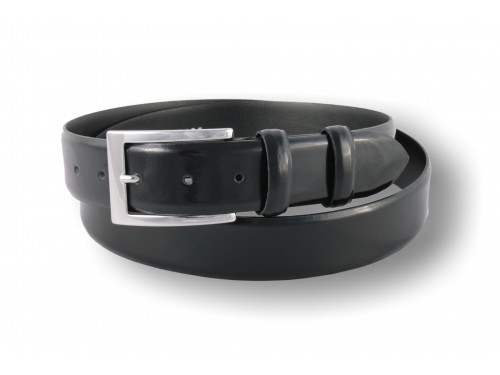 S090/35 Belt Mens classical genuine leather shiny, black color