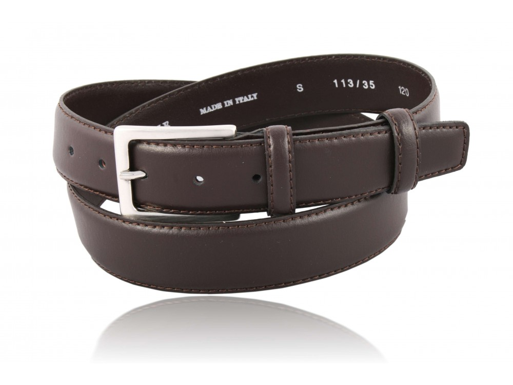 Leather belt rounded dark brown color