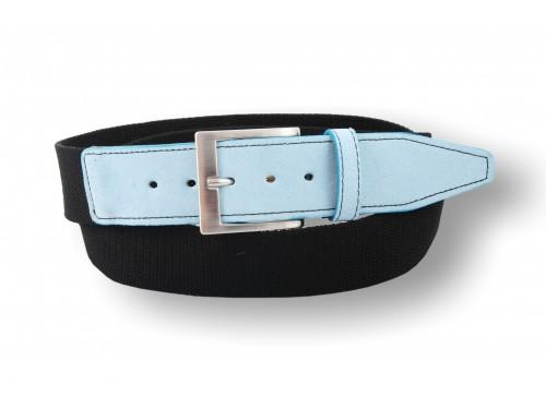 C093/40 Belt woven ribbon, suede leather trim, 10 colors