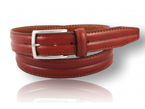 S138/35 Rounded belt real leather with stitching and skiving 3 colors