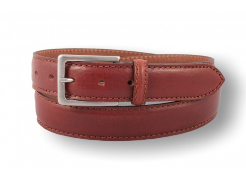 S141/35 Rounded belt real leather with seam sport 3 colors