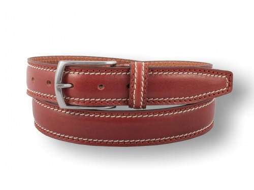 S142/35 Genuine Leather Belt rounded two seams sport 3 colors