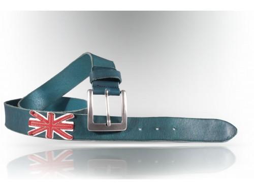 E078/40 Leather Belt true vintage flag ENGLAND col.blue