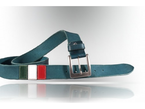 E078/40 Leather Belt true vintage flag ENGLAND col.blue