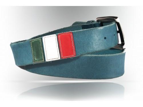 E078/40 Cintura vero Cuoio effetto vintage con bandiera