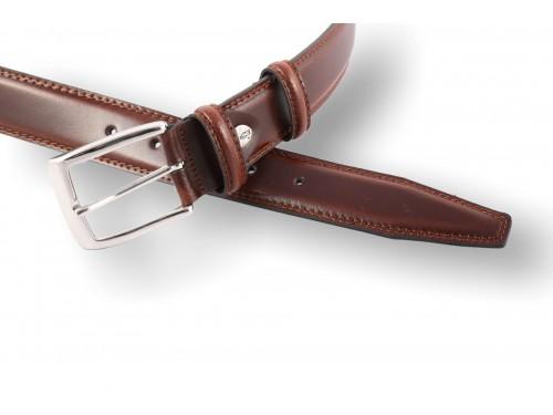 Rounded black leather belt