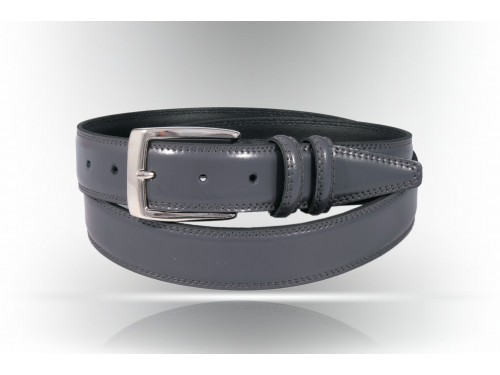 Rounded black leather belt