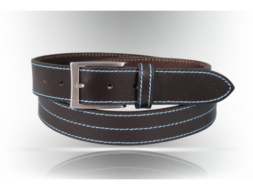 S183/35 Leather belt black fod. yellow various variants