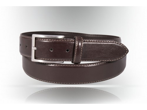 Classical belt made of genuine leather, color dark brown